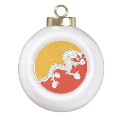 #Bhutan Flag Ceramic Ball Christmas Ornament - #country gifts style diy gift ideas