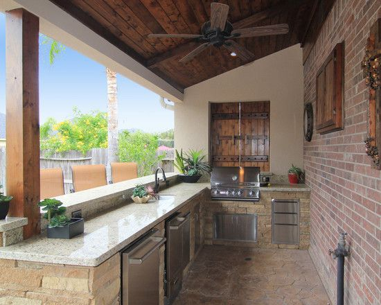 Exterior Design, Traditional Patio With Stunning Built In Barbeques Design Also White Granite Table Countertop Also Traditional Sink And Faucet Also Red Bricks Wall Also Rustic Blade Ceiling Fan Also Wooden Pillar: The Amazing Concept of Having the Built In Barbecue