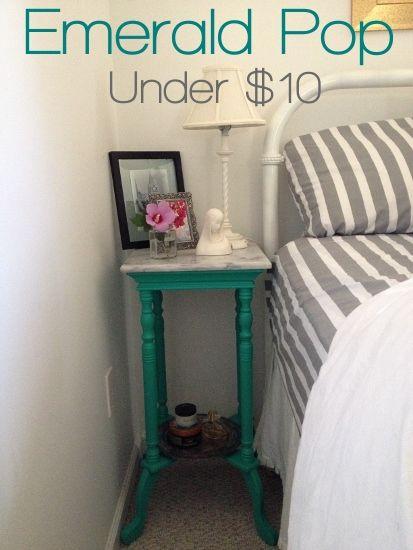 Emerald Pop - Nightstand Makeover Under $10