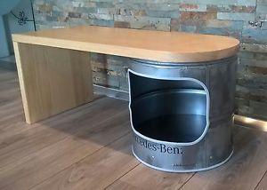 Couchtisch Wohnzimmertisch FassTisch Echt Holz Drehbar Mercedes Industrielook