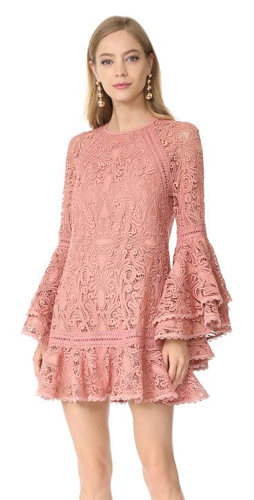 veronique dress by Alexis. Exclusive to Shopbop. A romantic lace Alexis mini dress in an intricate swirl pattern. The sheer bell sleeves are fin...
