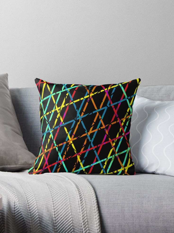 Colorful lines Throw Pillow  by Emily Pigou. Inspired by the 60's era and its psychedelic colors and  style #colorful #throwpillow #pillow #style #home #homedrcor #homegifts #retro #60s #living #life #love #redbubble  #gifts #lines #family #online #shopping #giftsforher #xmasgifts #christmasgifts #39 #1960 #60sfashion #art #design #pattern #pop #popart     • Also buy this artwork on home decor, apparel, stickers, and more.