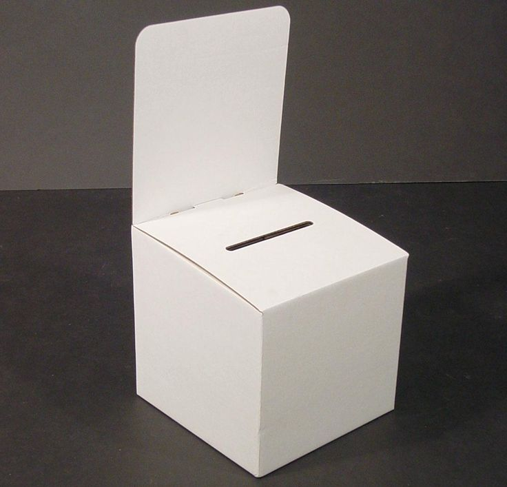 Cardboard Ballot Box With Header White Suggestion Box