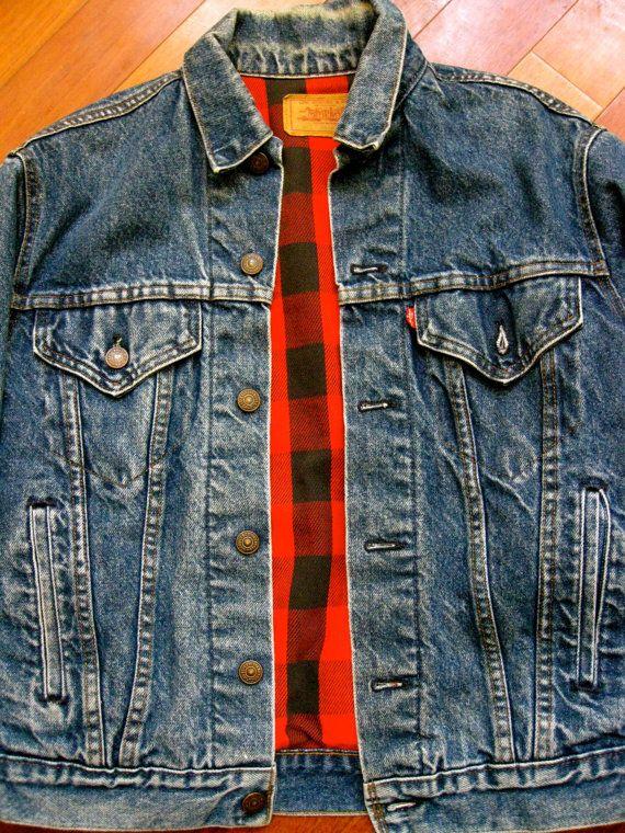 Vintage Levi S Flannel Lined Denim Jacket Made In Usa