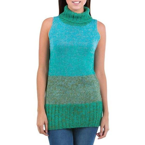 NOVICA Alpaca Sleeveless Long Sweater Vest ($110) ❤ liked on Polyvore featuring tops, sweaters, clothing & accessories, green, pullovers, sleeveless turtleneck sweater, green pullover sweater, sleeveless turtleneck, long green sweater and green turtleneck sweater