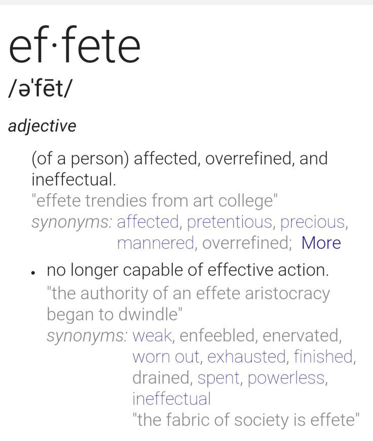 Beautiful Effete Definition