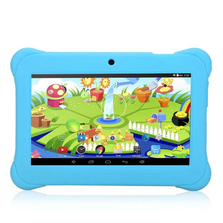 iRULU BabyPad Y1 7 Inch Android Tablet for Kids, with Games, Dual Cameras, Wi-Fi, Google Play Store, Children World, 1024600 HD Resolution, 1GB RAM, 8GB Storage (Blue). Specially designed for kids; with hundreds of free applications for learning and playing; there are 5 areas for the child to choose from within the pre-installed Children World app: App Box, Media, Games, e-Book, Painting and Notes. Quad Core Processor 1.3GHZ, Google Android 4.4 KitKat operating system, offers high speed…