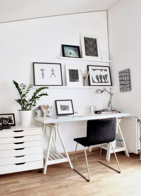 we love picture rails around and office. it makes re-arranging and displaying current obsessions a breeze.: