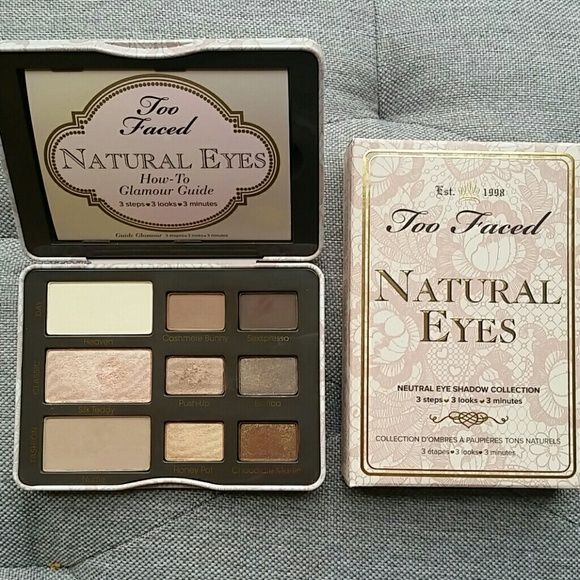 Too Faced Natural Eyes Palette High end makeup palette by Too Faced. Comes in tin case with mirror and glamour guide. I will include 5 free perfume samples with purchase (shown). Paraben free makeup. Too Faced Makeup Eyeshadow