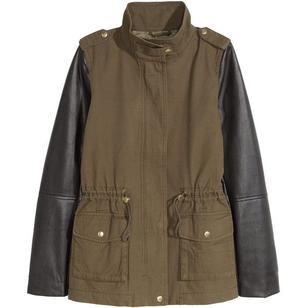 Cargo Jacket $49.99 ($50) via Polyvore featuring outerwear, jackets, drawstring jacket, stand collar jacket, brown jacket, stand up collar jacket and lined jacket