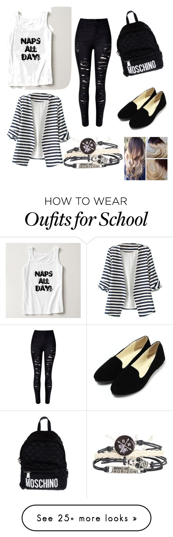 """""""School Outfit"""" by oanacode on Polyvore featuring Moschino, WithChic, women's clothing, women's fashion, women, female, woman, misses and juniors"""