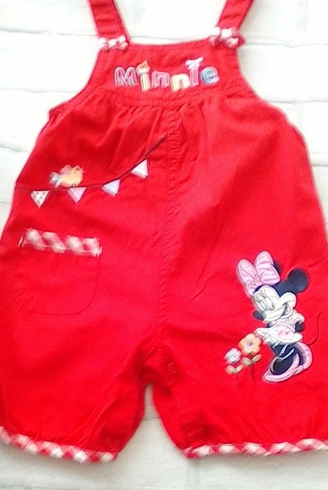 2696e15f0 Baby Girls Red Minnie Mouse Short Dungarees Disney George 6-9 months ...