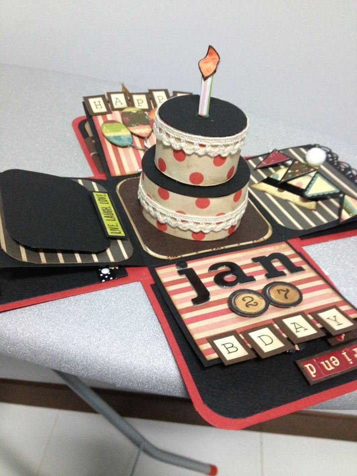 Hi guys,   This is the first explosion box that I tried out with no recepient in mind. However I themed it for Birthday.It is a very big an...