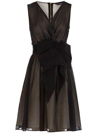 Dorothy Perkins  Black flock prom dress