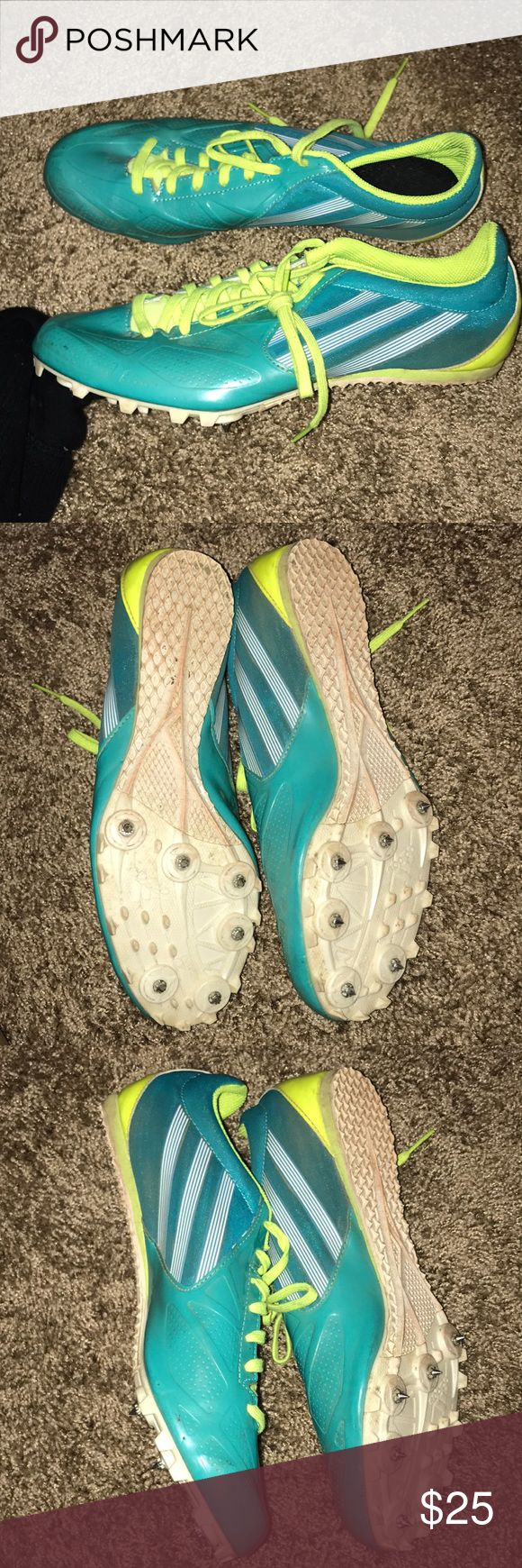 Adidas Track Spikes Used these for two track seasons (meets only). Very comfy and lightweight. Size 9 but fits like a glove. In great shape just a little bit dirty! I'm sure most of the dirt would come off with a little scrub. adidas Shoes Athletic Shoes