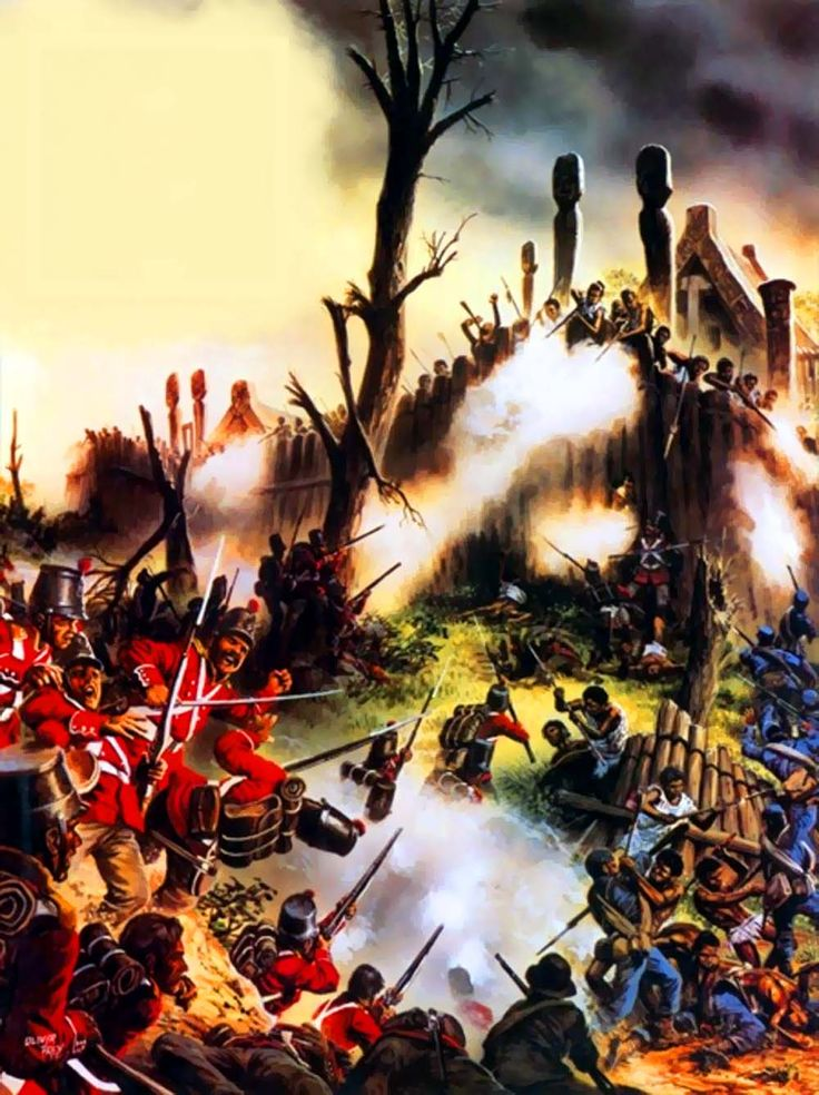 British Fencibles attacking a Maori Pa fortification ...
