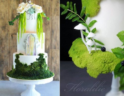 enchanted woodland wedding cakes with edible moss by The Cake Project left, Floralilie right