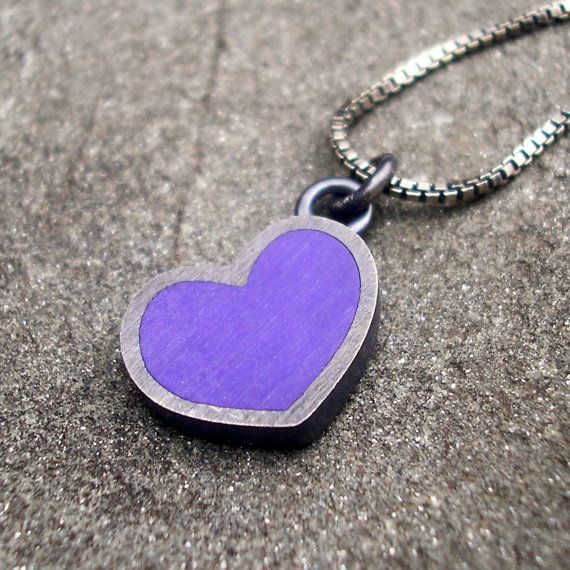 Heart Necklace.  Purple Resin Heart and Sterling by lsueszabo, $85.00
