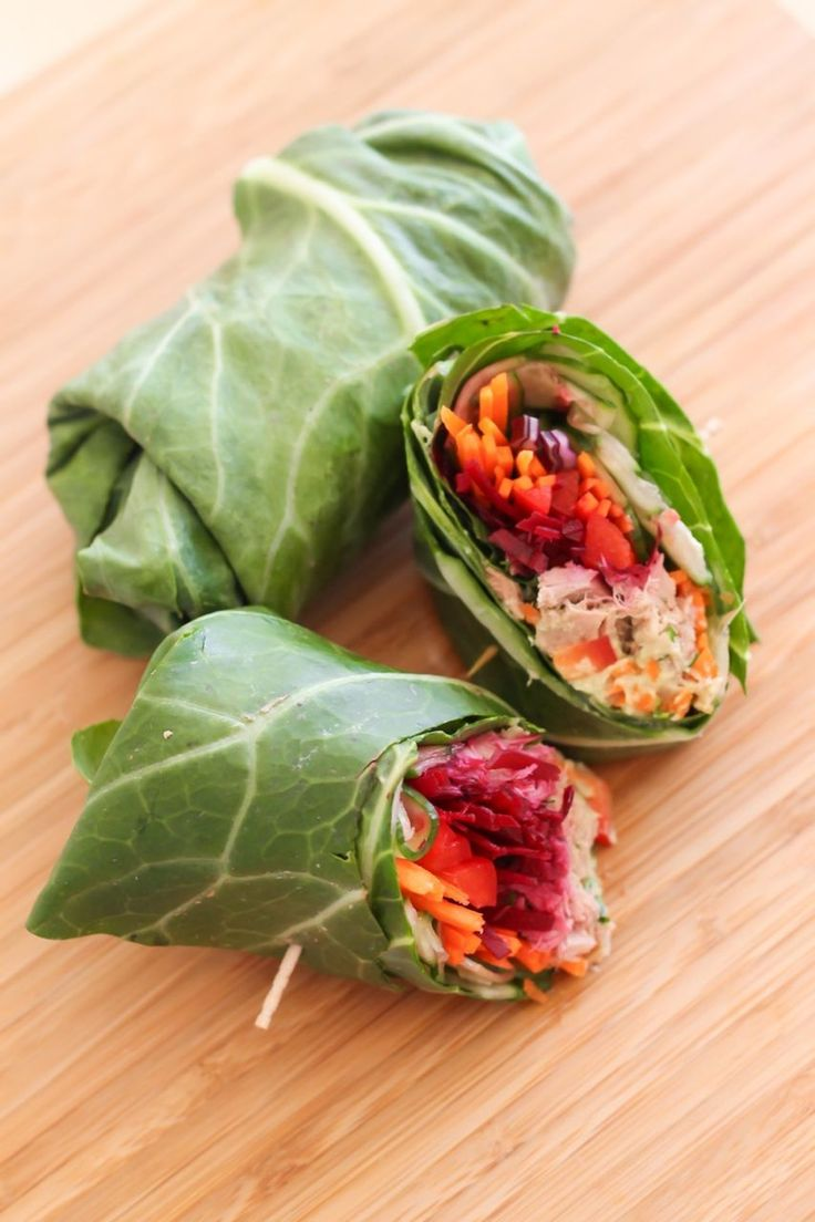 Collard Wraps #healthy #clean #recipes http://greatist.com/eat/clean-eating-recipes-that-taste-amazing