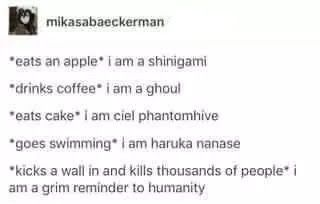 Deathnote, Tokyo Ghoul, Black Butler, Free, Attack On Titan tbh eating cake would make u either L or Hani from OHSHC