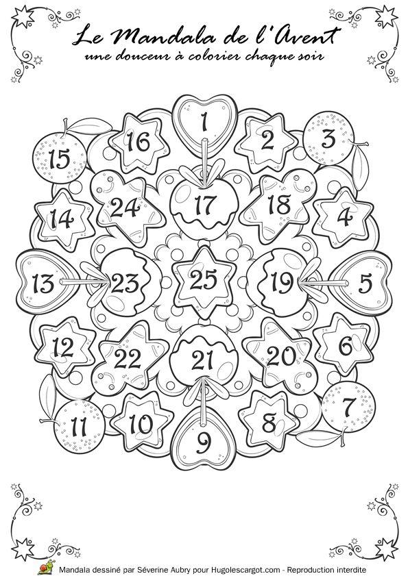 Coloriage / dessin Mandala calendrier de l'Avent à colorier chaque jour pour Noël