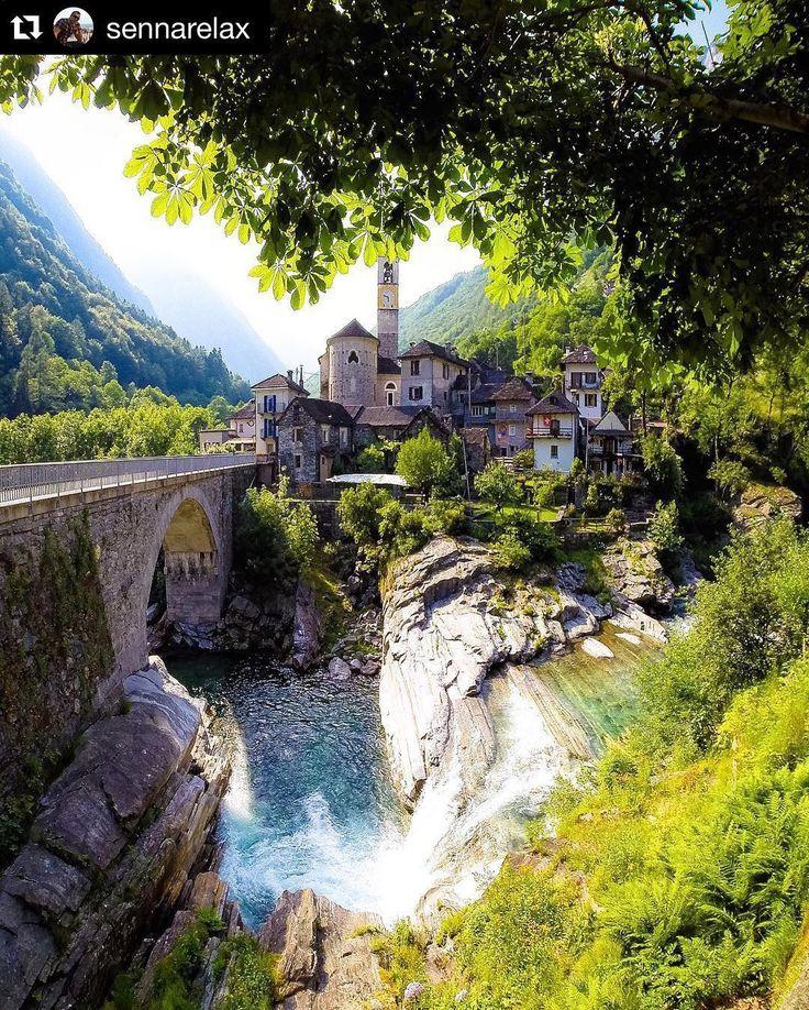 """Lavertezzo (Verzasca valley Ticino ) is renowned for its famous bridge """"Ponte dei Salti"""" #Repost @sennarelax #ticino #tessin #visitticino #myasconalocarno #Verzasca #schweiz #suisse #svizzera #inlovewithswitzerland #innamoratidellasvizzera by ticinoturismo"""