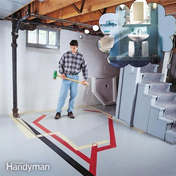 A Bathroom In The Basement Adds A Lot Of Value To A Finished Basement Here S How To Plumb The Basement Renovations Basement Remodeling Waterproofing Basement