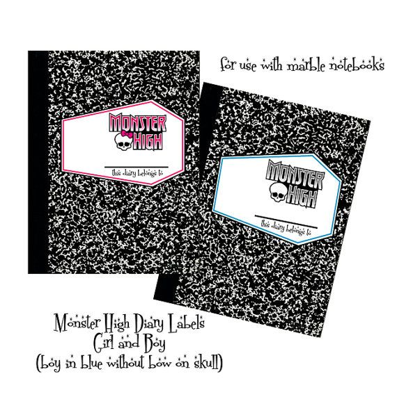 Monster High Diary Label For Marble Composition By Digitalparties 500