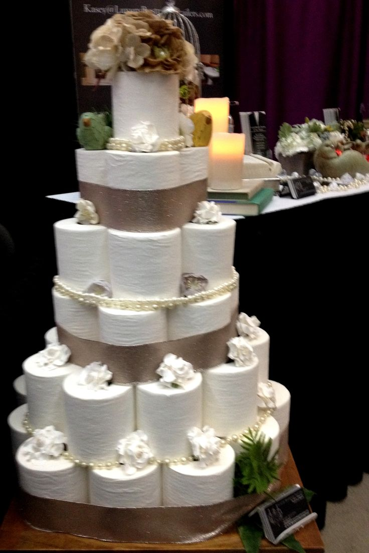 Cake Inspiration? AMAZING Toilet Paper Cake (LOL!!) by Luxury Restroom Trailers by Privy Chambers. Classy decor for a classy restroom!