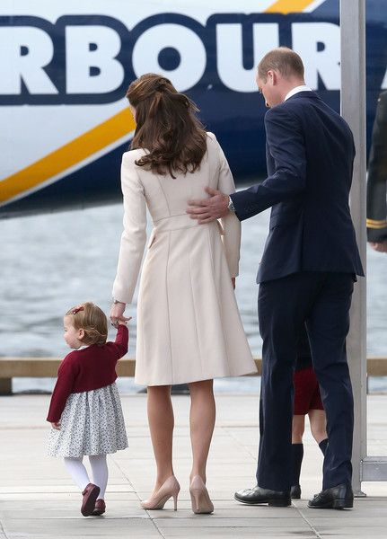 Kate Middleton Photos Photos - Prince William, Duke of Cambridge, Prince George of Cambridge, Catherine, Duchess of Cambridge and Princess Charlotte wave as they leave from Victoria Harbour to board a sea-plane on the final day of their Royal Tour of Canada on October 1, 2016 in Victoria, Canada. The Royal couple along with their Children Prince George of Cambridge and Princess Charlotte are visiting Canada as part of an eight day visit to the country taking in areas such as Bella Bella…