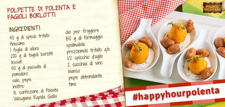 Morbida crema di #formaggio, #polpette di polenta e #fagioli borlotti: non è questo un aperitivo davvero sfizioso? Prova la ricetta!