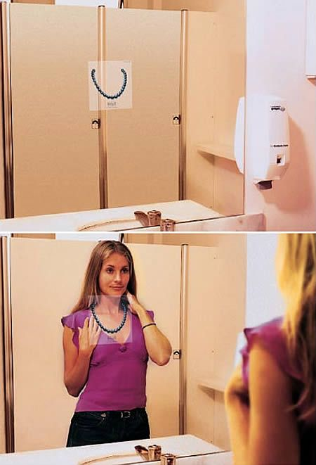 Chapter 8- This second example of creative ad marking in a new way that catches the peoples attention because its not in an expected location like the back of the bathroom door. I feel that this almost goes across barriers. i.e. people will market anywhere and do companies want people to talk about your brand hearing about it in the bathroom.