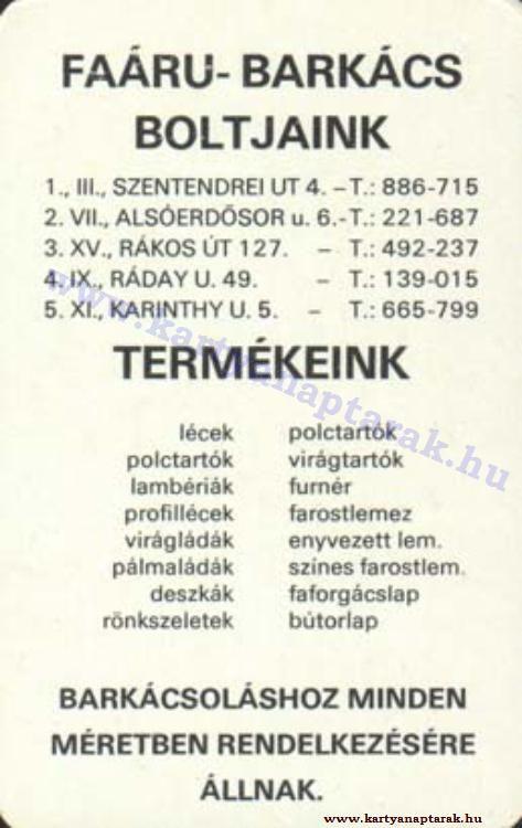 1976 - 1976_0825 - Régi magyar kártyanaptárak