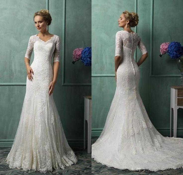 Amelia sposa 2016 wedding dresses lace half long sleeves for Winter mermaid wedding dresses
