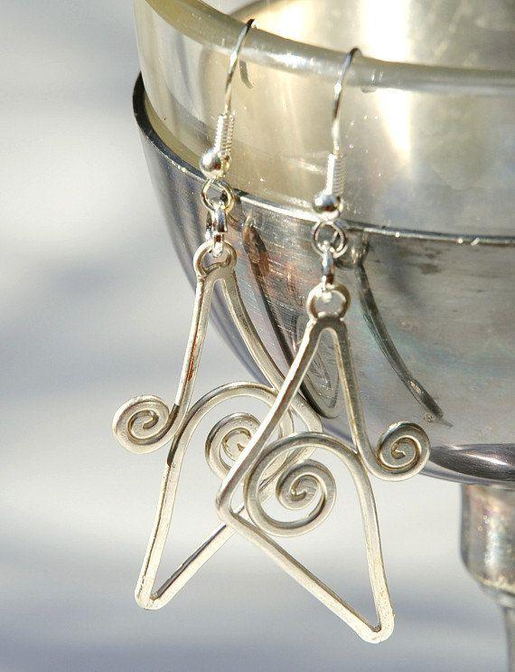 "Art Deco handmade earrings Art Nouveau ""Infinite"" silver wire wrapped"