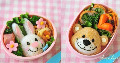 Bunny and bear Bento