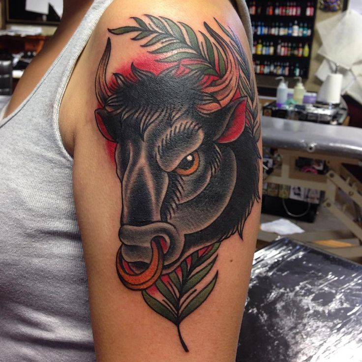 Fun bull from today. Her first tattoo. Thanks heaps!! @skinkstattoosnz