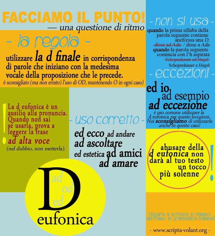 La serie [impara a scrivere in italiano: adottiamo la grammatica italiana] Per sostenere la nostra campagna [impara a scrivere in italiano: adottiamo la grammatica italiana], abbiamo preparato una grafica che riguarda la D eufonica. Come di consueto, c'è anche la versione testuale. Condividiamola per un web (e non solo) con meno d cacofoniche!
