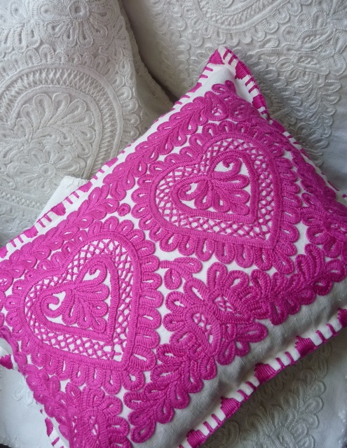 """Hand embroidered on vintage linen """"heart """" cushion"""