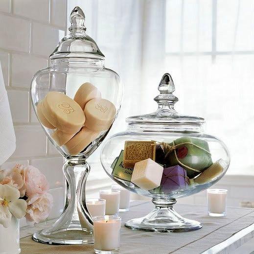 apothecary jars bathroom decor.