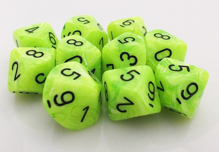 Vortex d10 Dice (Bright Green) RPG role playing game dice