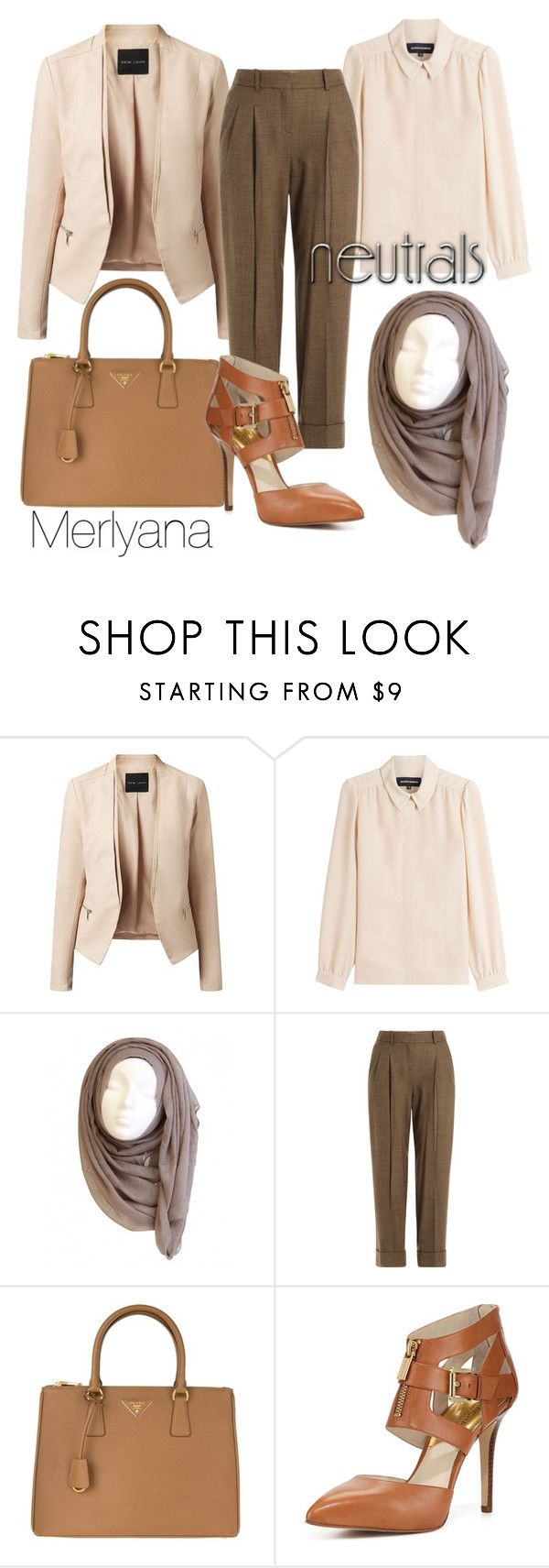 """neutral"" by merlyana-dwi-hapsari on Polyvore featuring Vanessa Seward, Michael Kors, Prada and MICHAEL Michael Kors"