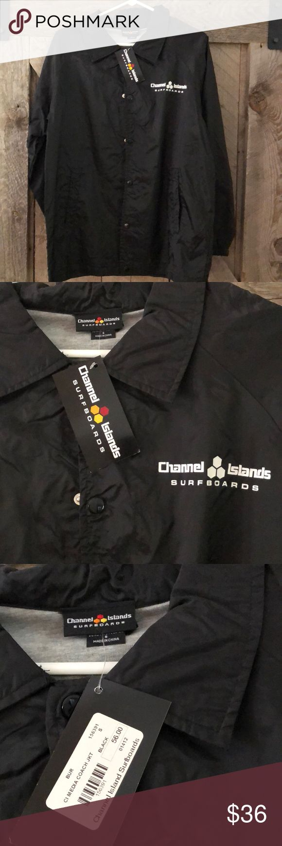 Channel Islands surf jacket black with grey sweat interior. new with tags channel island surfboards Jackets & Coats Windbreakers