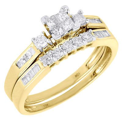 ladies 10k yellow gold diamond engagement ring princess wedding band bridal set - Princess Wedding Ring