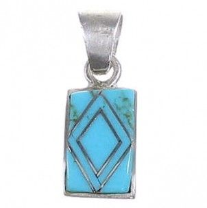 Jewelry Turquoise and Sterling Silver Slide Pendant RS31929