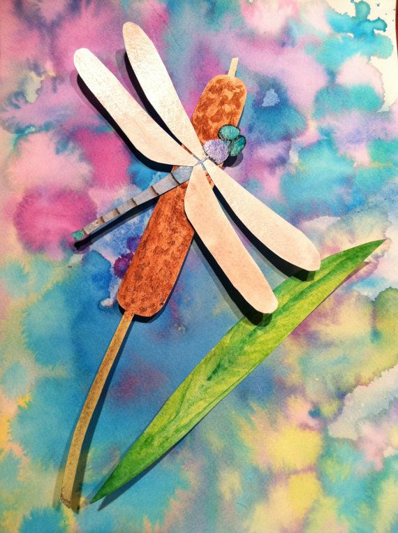 3D watercolor dragonfly painting collage