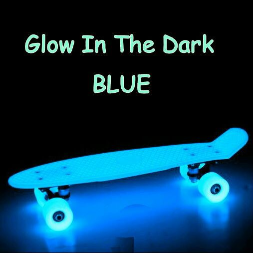 Blue glow in the dark Penny Board.