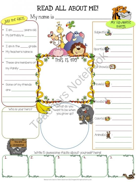 Worksheets Free Printable All About Me Worksheet 1000 images about all me on pinterest getting to know jungle product from jasons classroom teachersnotebook com