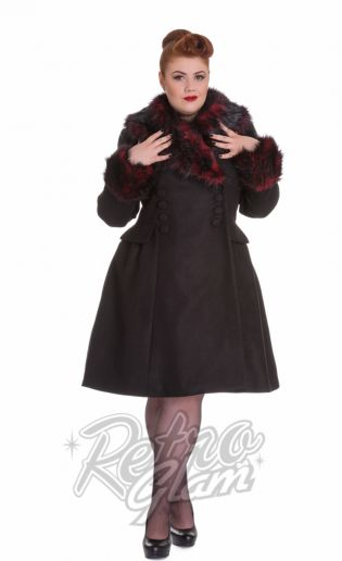 Hell Bunny coats are all in for the season.  Grab your favorite online including the lovely Rock Noir Coat. #pinup #retro #coat #retroglamclothing #retroglam #rowenaedmonton #holidays2015 #dress #vintageinspired #hellbunny #plussize #fashion #curvygals