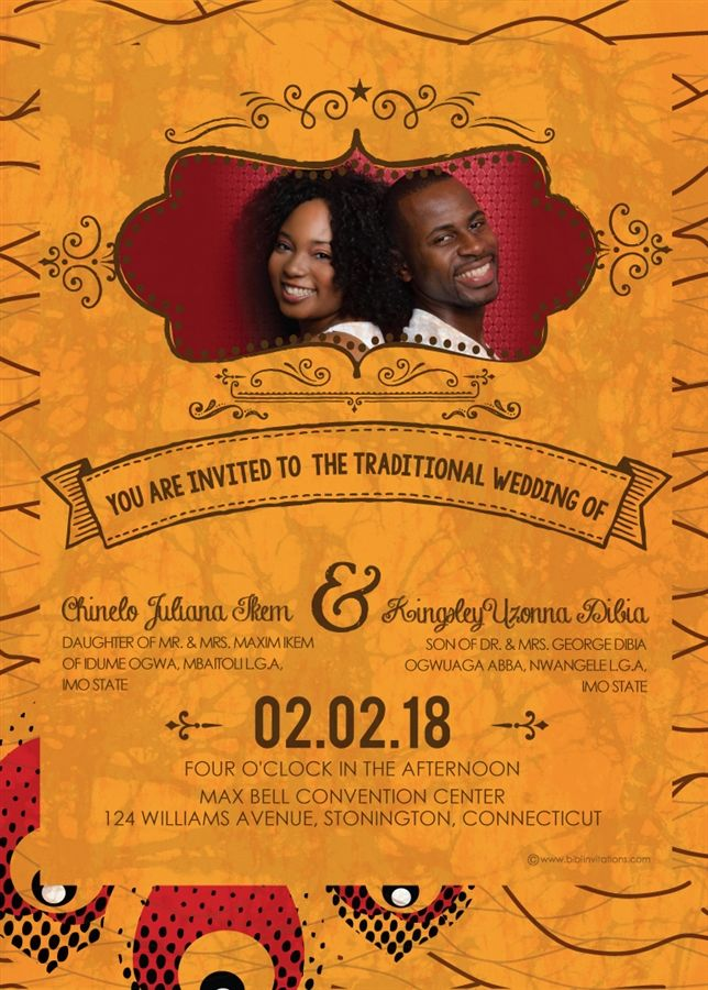 Obi Dia African Wedding Invitation Traditional Wedding